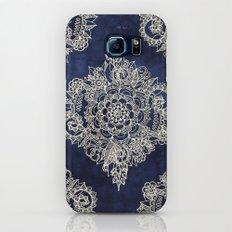 Cream Floral Moroccan Pattern on Deep Indigo Ink Galaxy S6 Slim Case