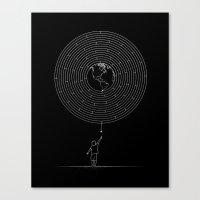 I Dream To Explore The World (Black) Canvas Print