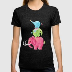 Elephants Womens Fitted Tee Tri-Black SMALL
