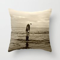 A Boy and The Sea Throw Pillow