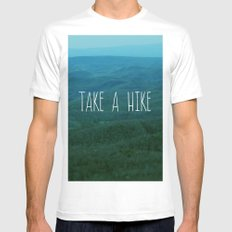 Take A Hike White Mens Fitted Tee SMALL