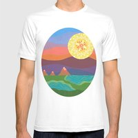 Sunset Mountains Mens Fitted Tee White SMALL