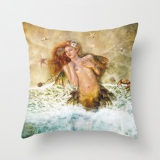 Washed Ashore, Mermaid  Throw Pillow