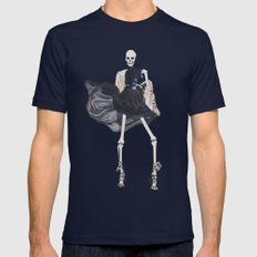 skeleton in leather & fur Mens Fitted Tee Navy SMALL