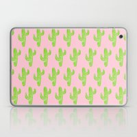 Linocut Cacti Minty Pinky Laptop & iPad Skin