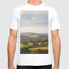Sunset over trees in the valley. Derbyshire, UK. White Mens Fitted Tee SMALL