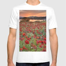 Poppies at the lake at sunset SMALL White Mens Fitted Tee