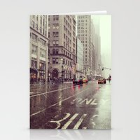 nyc street rain Stationery Cards