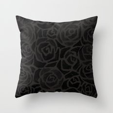 Cluster of Black Roses Throw Pillow