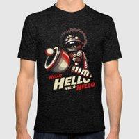 HELLO! HELLO! (black) Mens Fitted Tee Tri-Black SMALL