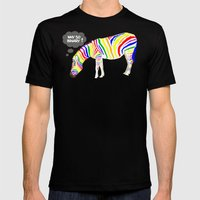 Rainbow Zebra Mens Fitted Tee Black SMALL