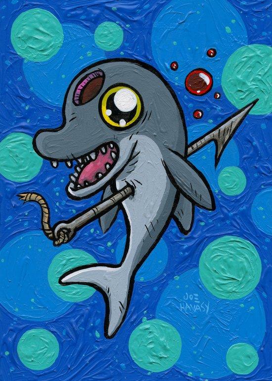 Poony the Harpooned Dolphin Art Print