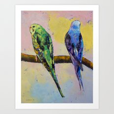 Green and Violet Budgies Art Print