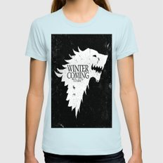 Winter is coming Womens Fitted Tee Light Blue SMALL