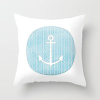 Anchor in Blue Throw Pillow