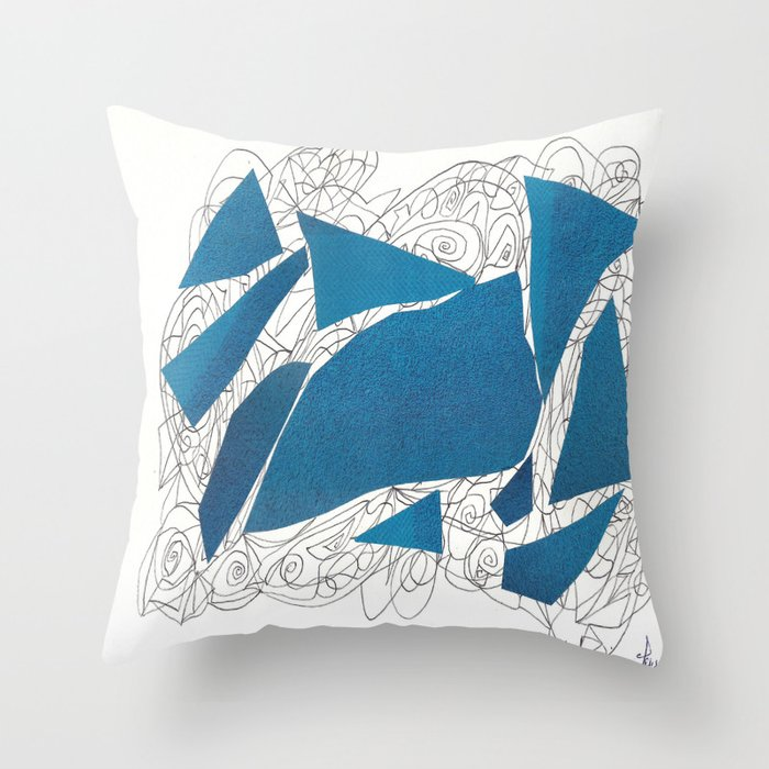 Throw Pillow Doodle : Blue Collage doodle Throw Pillow by Osile Ignacio Society6