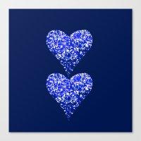 sparkling hearts blues Canvas Print