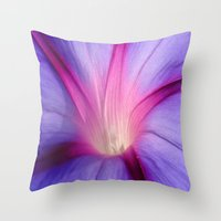 Lilac and Fuschia Morning Glory in Macro Throw Pillow