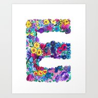 Art Print featuring E Letter Floral by Amy Sia