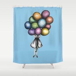 Shower Curtain - Balloon Girl in Blue - ECMazur