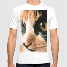 Thinking Cat White SMALL Mens Fitted Tee