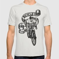 Bicycle Rider Mens Fitted Tee Silver SMALL