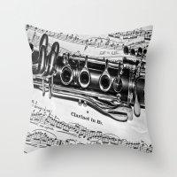 B Flat Clarinet In Black… Throw Pillow
