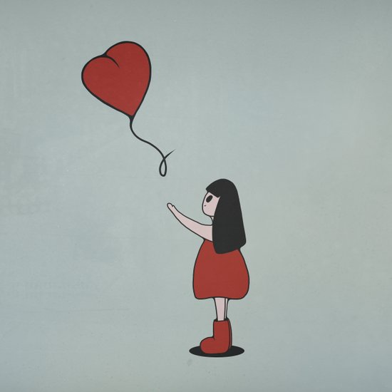 Girl with a Heart-Shaped Balloon Canvas Print