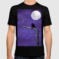 Moonlit Winter Sky Mens Fitted Tee Black SMALL