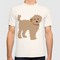 Brown Labradoodle Dog Mens Fitted Tee Natural SMALL