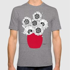 Black and White Poppies in a Red Vase Mens Fitted Tee Tri-Grey SMALL