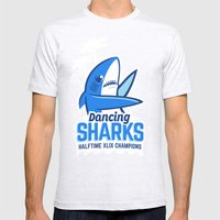Dancing Sharks Mens Fitted Tee Ash Grey SMALL