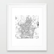 Kyoto Map Gray Framed Art Print