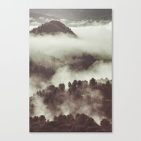 Foggy morning at the mountains. Retro forest Canvas Print