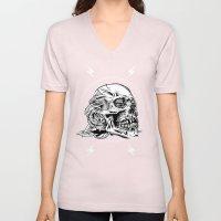 Skullflower Black And Wh… Unisex V-Neck