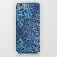 Aqua, Cobalt Blue & Purple Protea Doodle Pattern iPhone 6 Slim Case