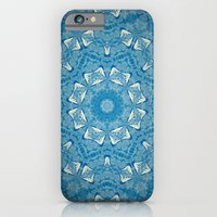 Wisdom is a Butterfly -- Bohemian Mandala in Vintage Ivory on Blue Duotone iPhone 6 Slim Case