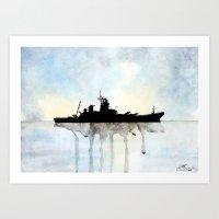 USS Missouri Watercolour Art Print