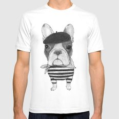 French Bulldog. (black and white version) Mens Fitted Tee White SMALL