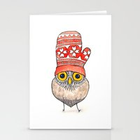 mitten owl Stationery Cards