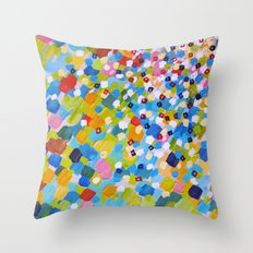 SWEPT AWAY 1 - Bright Colorful Rainbow Blue Ocean Waves Mermaid Splash Abstract Acrylic Painting Throw Pillow