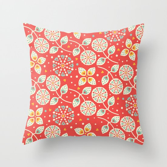 Vintage Flora Throw Pillow