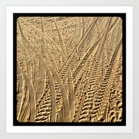 Tire tracks in the sand. Art Print