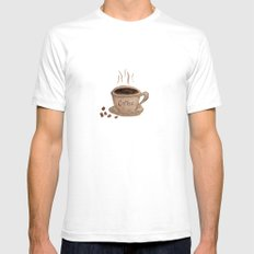 Coffee Please Mens Fitted Tee White SMALL