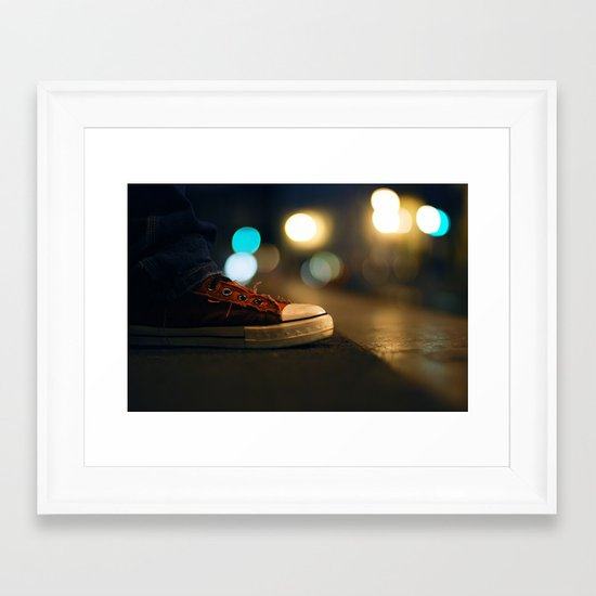 Converse All Star Night Lights Framed Art Print