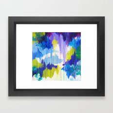 WINTER DREAMING - Jewel Tone Colorful Eggplant Plum Periwinkle Purple Chevron Ikat Abstract Painting Framed Art Print