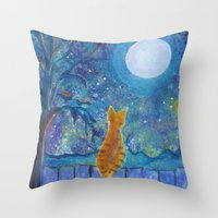 Cat On A Fence In The Mo… Throw Pillow
