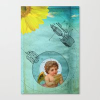 Canvas Print featuring Angel playing music in space by Alexandros Papalexis