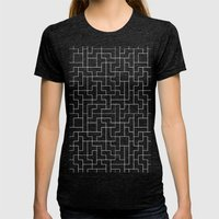 White Tetris Pattern on Blue Womens Fitted Tee Tri-Black SMALL