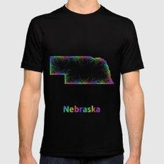 Rainbow Nebraska map SMALL Black Mens Fitted Tee